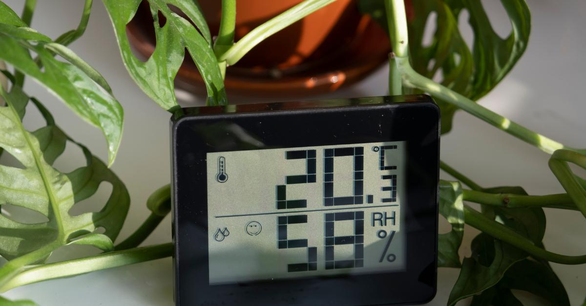 Humidity moisture meter display on desk